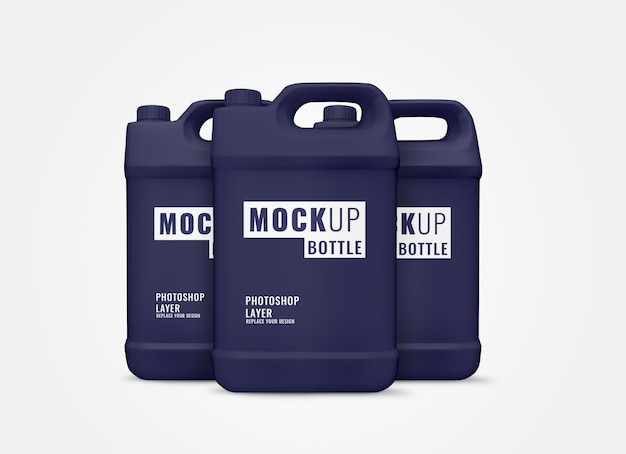 Rappresentazione realistica 3d del modello blu della bottiglia di gallone