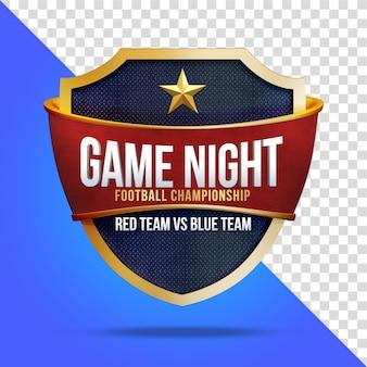 Game night football championship con scudo 3d rendering isolato
