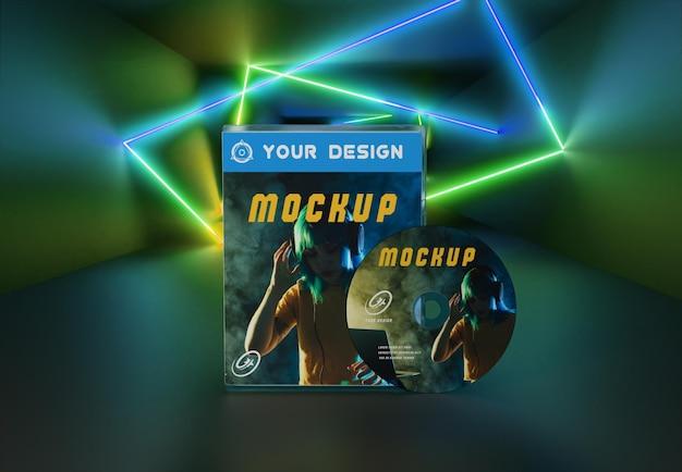 Imballaggio astratto di gioco e mockup di cd