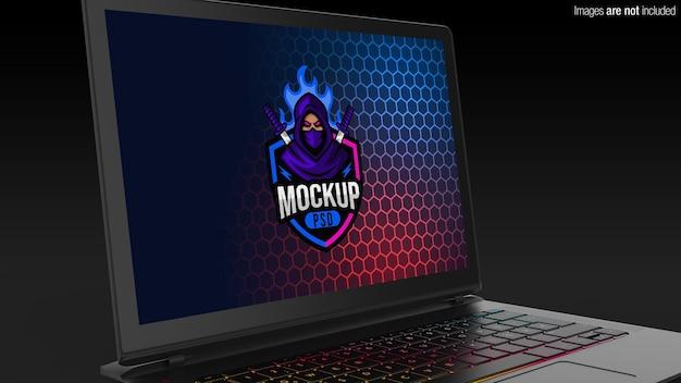 Mockup di laptop da gioco vista ravvicinata