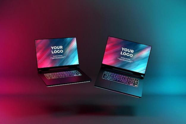 Mockup di laptop da gioco con tastiera led rgb che si illumina