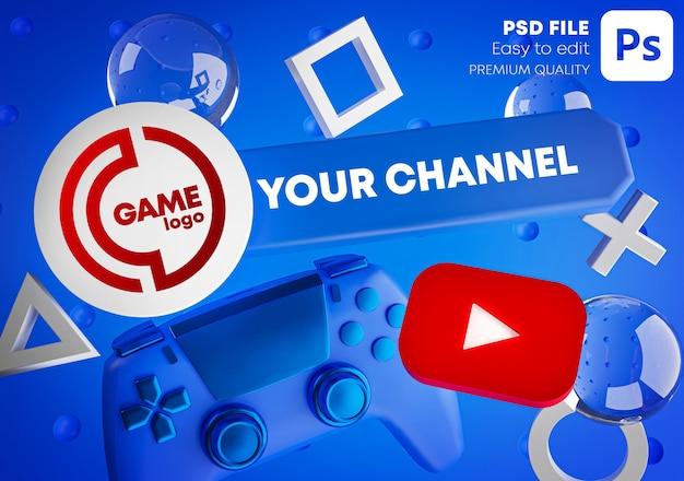 Mockup di promozione del logo del canale youtube di gioco per gamepad Psd Premium