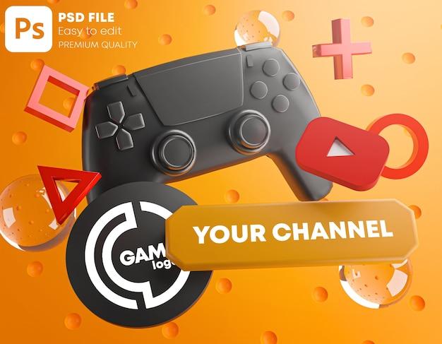 Mockup di promozione del logo del canale youtube di gioco per gamepad