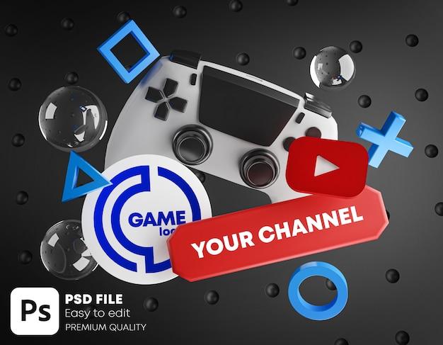 Mockup di promozione del logo del canale youtube di gioco