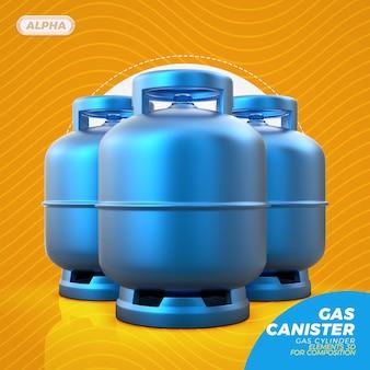 Bombola del gas nella rappresentazione 3d isolata
