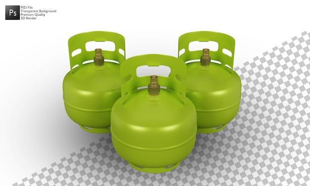 Disegno 3d dell'illustrazione della bombola del gas