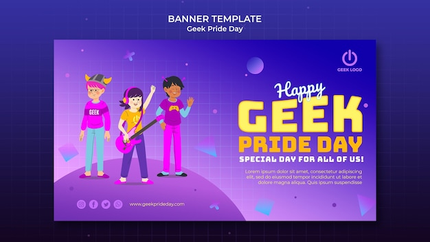Modello di banner giorno di orgoglio geek con persone che cantano