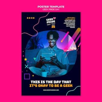 Modello di poster del giorno dell'orgoglio geek