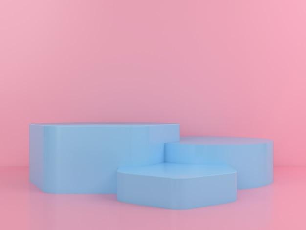 Mockup di visualizzazione del podio blu di forma geometrica
