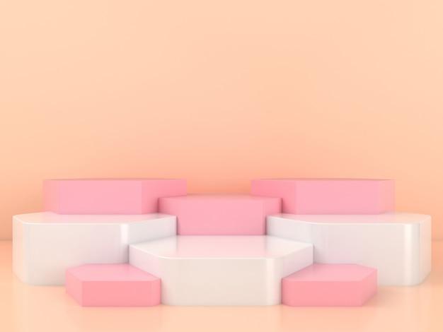Mockup di visualizzazione del podio rosa bianco di forma geometrica