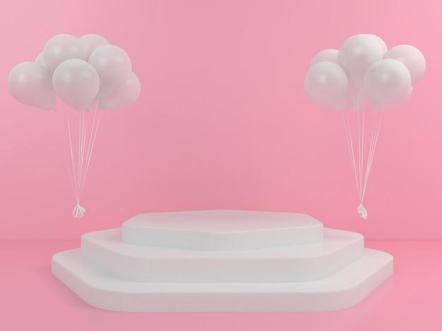 Mockup di palloncino display podio bianco di forma geometrica