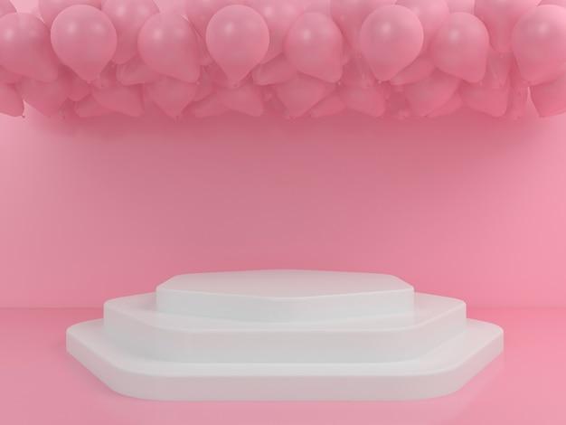 Mockup di visualizzazione del podio bianco di forma geometrica