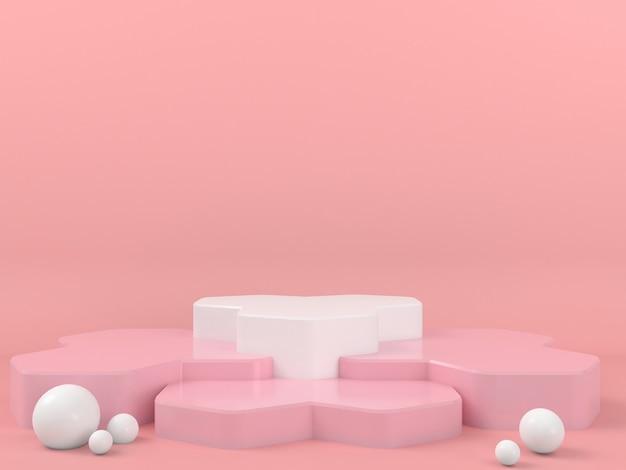 Display podio bianco di forma geometrica in mockup sfondo rosa pastello