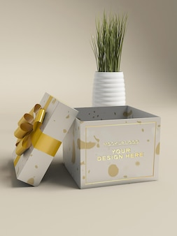 Confezione regalo logo 3d mockup