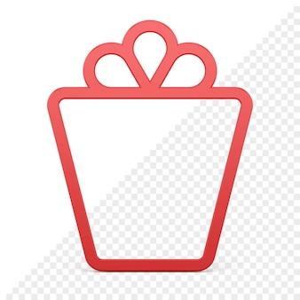Icona 3d con cornice a forma di regalo
