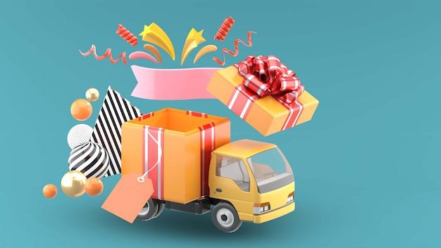 I camion del regalo si aprono con le stelle e i nastri sull'azzurro
