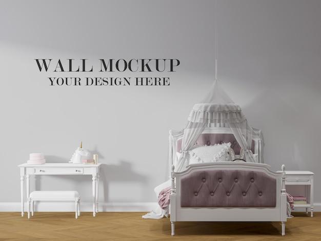 Fondo della parete della camera da letto della ragazza nel rendering 3d