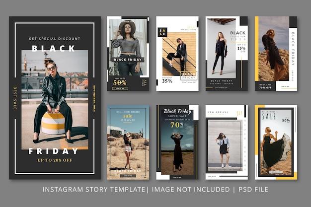 Modello grafico di storie di instagram di moda ragazza