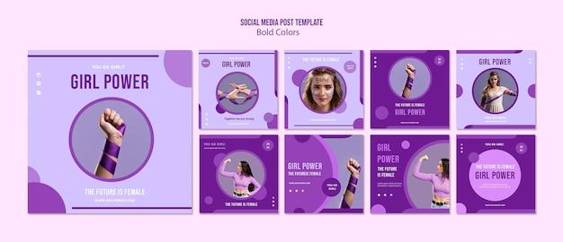 Post sui social media di girl power