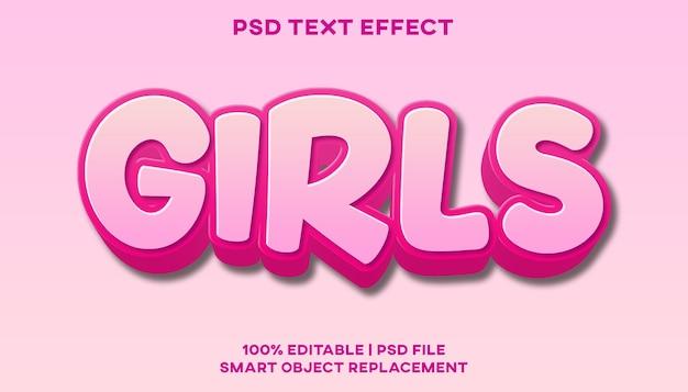 Modello di stile effetto testo ragazze