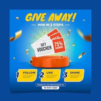 Modello di post sui social media del concorso give away