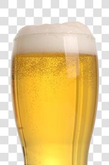 Bicchiere di birra in primo piano con schiuma, file psd a strati