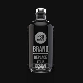 Bottiglia di vetro 3d rendering mockup design