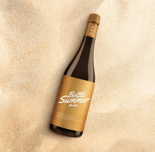 Bottiglia di vetro sul modello pubblicitario della spiaggia beach