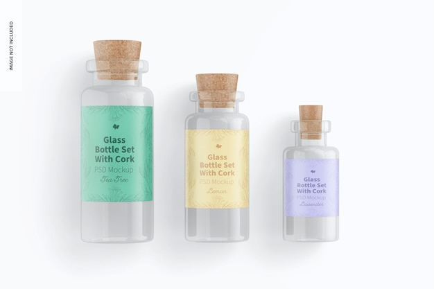 Set di bottiglie di vetro con mockup di sughero, vista dall'alto