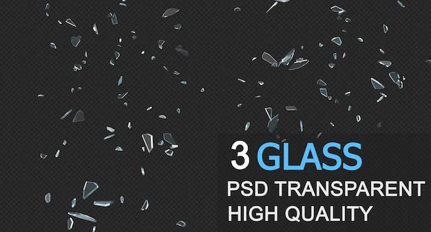 Detriti di vetro nella progettazione isolata rendering 3d