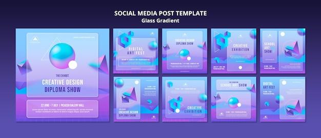 Modello di post sui social media con gradiente di vetro