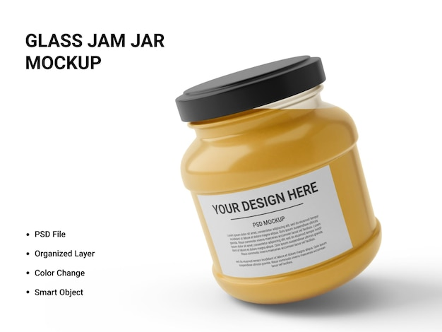 Vaso di marmellata di vetro mockup design