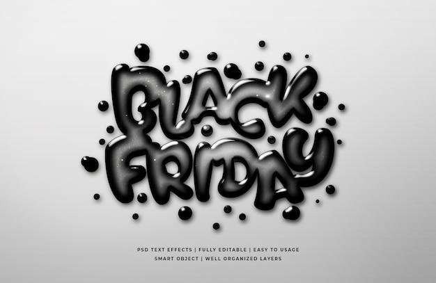 Modello di effetto di stile di testo 3d di vetro liquido venerdì nero