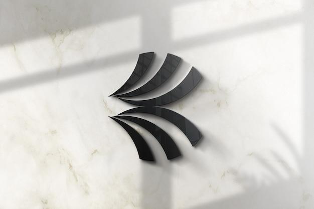Parete 3d mockup logo in vetro