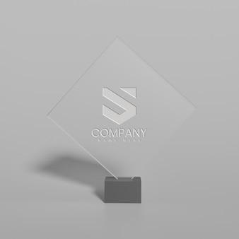 Mockup logo in vetro con sfondo bianco