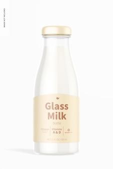 Mockup di bottiglia di latte in vetro, vista frontale