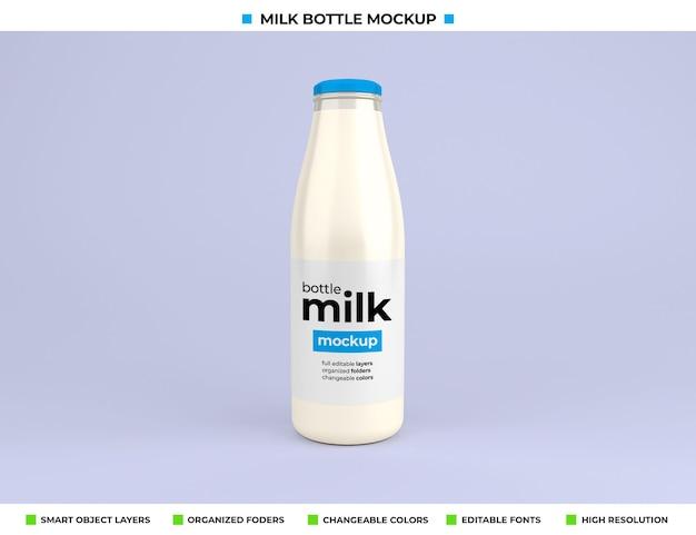 Mockup di bottiglia di latte in vetro per il pacchetto del prodotto