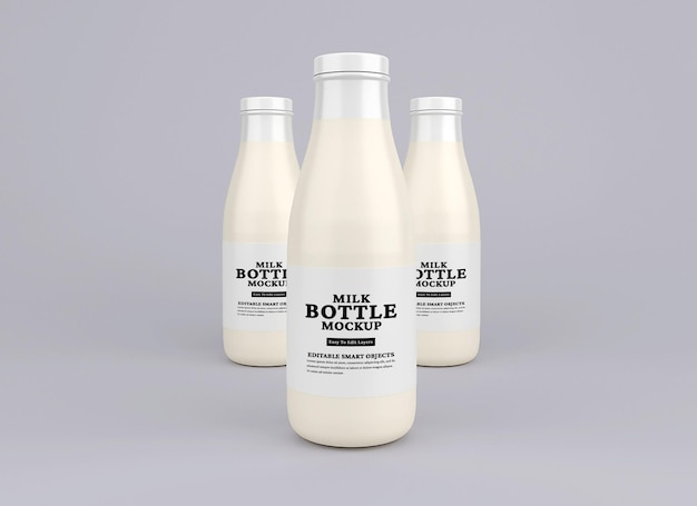 Modello di bottiglia di latte in vetro glass