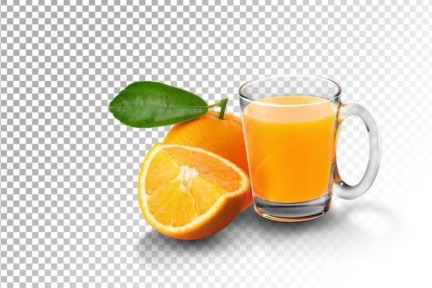 Bicchiere di succo d'arancia e arance