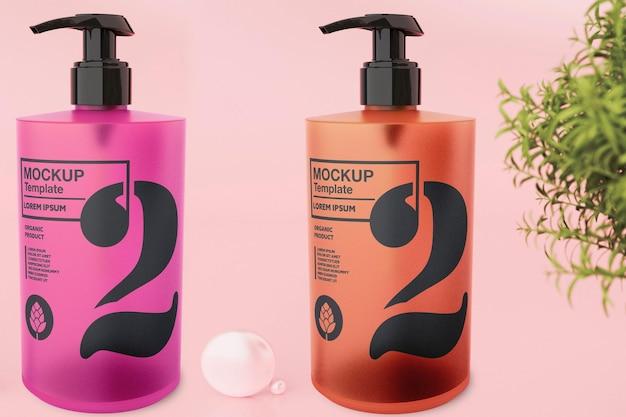 Bottiglia di sapone in vetro mockup design nel rendering 3d
