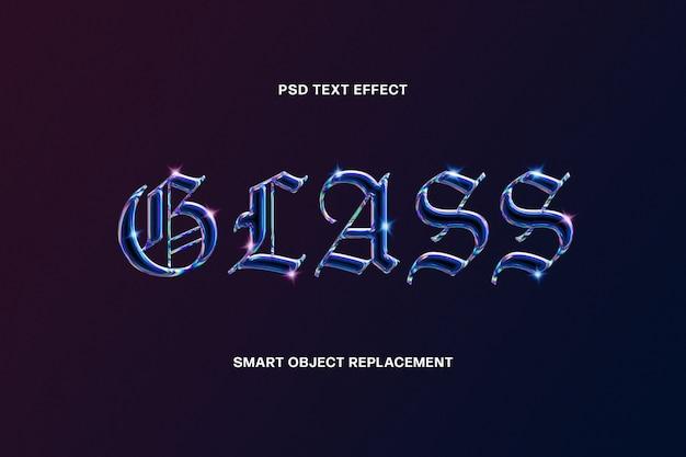Modello di effetto testo in vetro