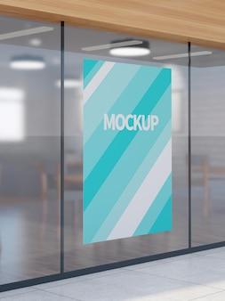 Modello di banner per parete di vetro