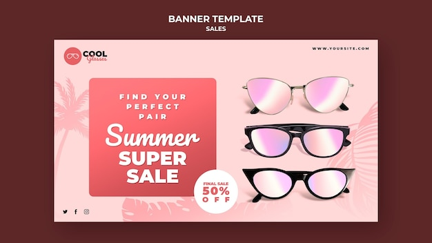 Modello di banner di vendita di occhiali