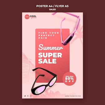 Modello di poster di vendita di occhiali