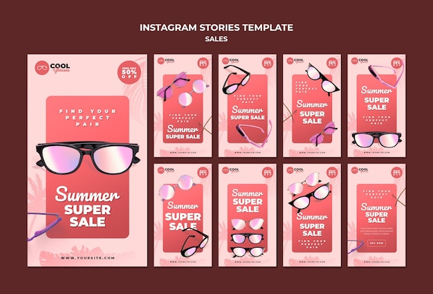 Modello di storie sui social media di vendita di occhiali
