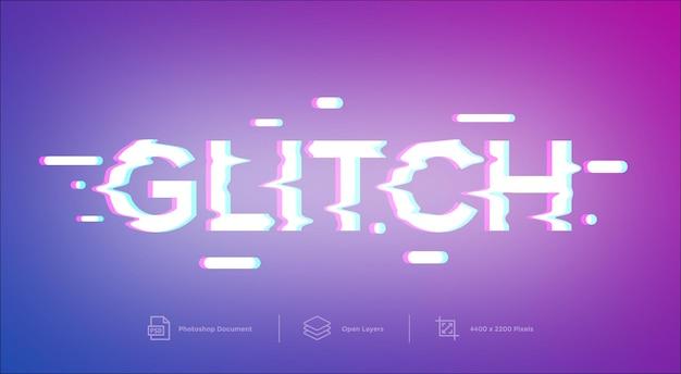 Effetto di stile del modello di progettazione dell'effetto di testo glitch