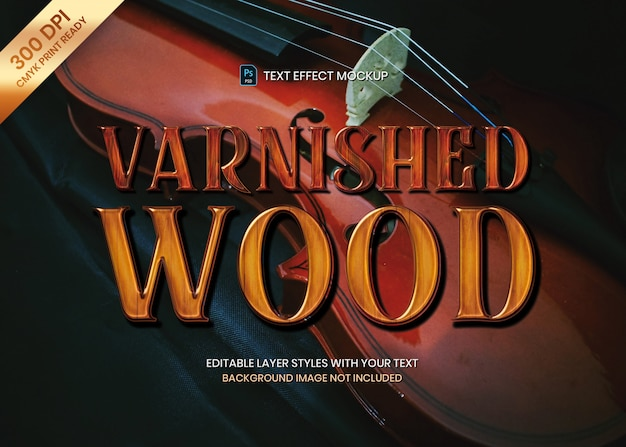 Modello di stampa effetto legno lucido testo lucido