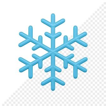 Il fiocco di neve blu lucido 3d rende. elemento decorativo di natale. oggetto di decorazione minimalista per vacanze invernali isolato su sfondo bianco.