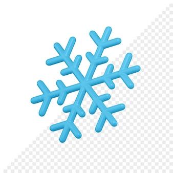 Rendering 3d lucido fiocco di neve blu