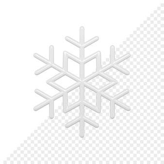 Rendering 3d lucido fiocco di neve bwhite. elemento decorativo di natale. decorazione minimalista per le vacanze di capodanno isolato su sfondo bianco.